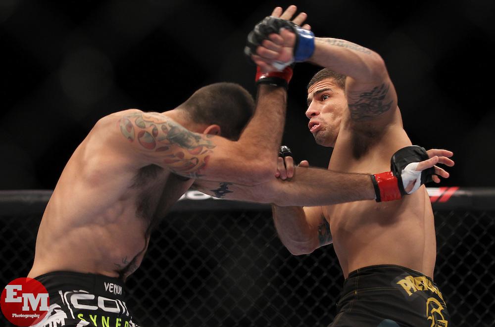 Atlantic City, NJ - June 22, 2012: Matt Brown (black/red trunks) and Luis Ramos (black trunks) at UFC on FX 4 at Ovation Hall at Revel Resort & Casino in Atlantic City, New Jersey.