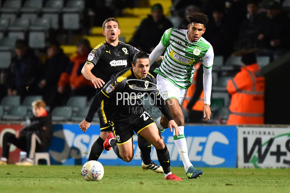 Egli Kaja (21) of AFC Wimbledon on the attack during the EFL Trophy match between Yeovil Town and AFC Wimbledon at Huish Park, Yeovil, England on 5 December 2017. Photo by Graham Hunt.