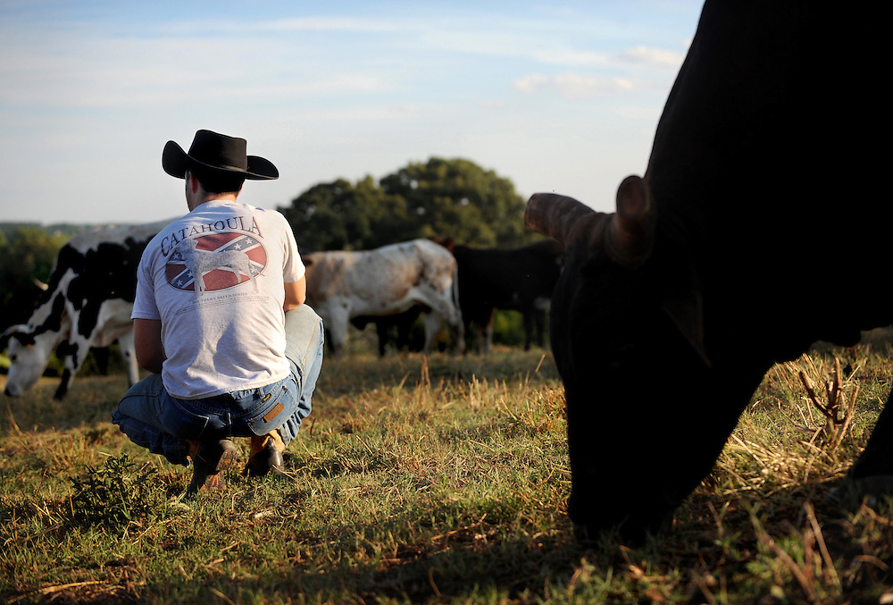 "Besides taking care of and training Cecil B. Arthur's bulls, J.C. Childress breads his own bulls for his company Blue Ridge Mountain Bucking Bulls.  He will often spend hours out on his property watching his bulls.   ""When the calves are born every year, that's the happiest time for me.  Just to see the new calves.  You don't know what its going to be, what its going to look like, how they are going to buck.  That's excitement.  There is nothing that can take the place of that,"" said Childress."