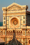 ITALY, FLORENCE Cathedral Santa Maria del Fiore (Duomo) 1296-1434 in Italian Renaissance style with marble mosaic facade and rose window