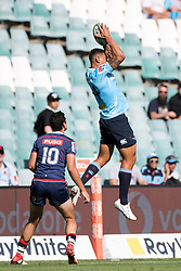 March 18, 2018 - Sydney, NSW, U.S. - SYDNEY, NSW - MARCH 18: Waratahs player Israel Folau (14) gets up high for the ball at round 5 of the Super Rugby between Waratahs and Rebels at Allianz Stadium in Sydney on March 18, 2018. (Photo by Speed Media/Icon Sportswire) (Credit Image: © Speed Media/Icon SMI via ZUMA Press)