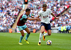 Jan Vertonghen of Tottenham Hotspur goes past Jack Cork of Burnley - Mandatory by-line: Robbie Stephenson/JMP - 27/08/2017 - FOOTBALL - Wembley Stadium - London, England - Tottenham Hotspur v Burnley - Premier League