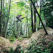 Zaid Elgawarsha grabs huge air on the jump track in Bellingham Washington.