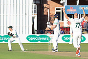 WICKET Dieter Klein has Steven Croft caught at slip during the Specsavers County Champ Div 2 match between Leicestershire County Cricket Club and Lancashire County Cricket Club at the Fischer County Ground, Grace Road, Leicester, United Kingdom on 25 September 2019.