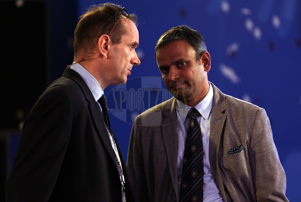 Peter from IMG and Sundar Raman IPL CEO during the Pepsi IPL Player Auction held at the ITC Gardenia in Bengaluru, India on the 13th February 2014<br /> <br /> Photo by Sandeep Shetty/BCCI/SPORTZPICS