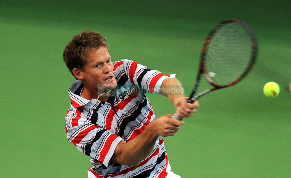 CHENGDU, Oct. 28, 2011 Wayne Ferreira of South Africa hits a return to Pete Sampras of the United States during their match at the ATP Tennis Championships in Chengdu, capital of southwest China's Sichuan Province, on Oct. 28, 2011. Sampras won 2-0. (Credit Image: © Xinhua via ZUMA Wire)