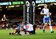 Ross Moriarty of Dragons crosses the line but no try<br /> <br /> Photographer Simon King/Replay Images<br /> <br /> Guinness PRO14 Round 21 - Dragons v Scarlets - Saturday 27th April 2019 - Principality Stadium - Cardiff<br /> <br /> World Copyright © Replay Images . All rights reserved. info@replayimages.co.uk - http://replayimages.co.uk