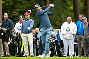 Liverpool football legend Jamie Redknapp teeing off during the BMW PGA Championship Celebrity Pro-Am Day at the Wentworth Club, Virginia Water, United Kingdom on 25 May 2016. Photo by Simon Davies.