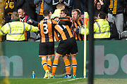 Goal 1-0  Lazar Markovic celebrates with Sam Clucas & Andrew Robertson (3) during the Premier League match between Hull City and Watford at the KCOM Stadium, Kingston upon Hull, England on 22 April 2017. Photo by Craig Zadoroznyj.