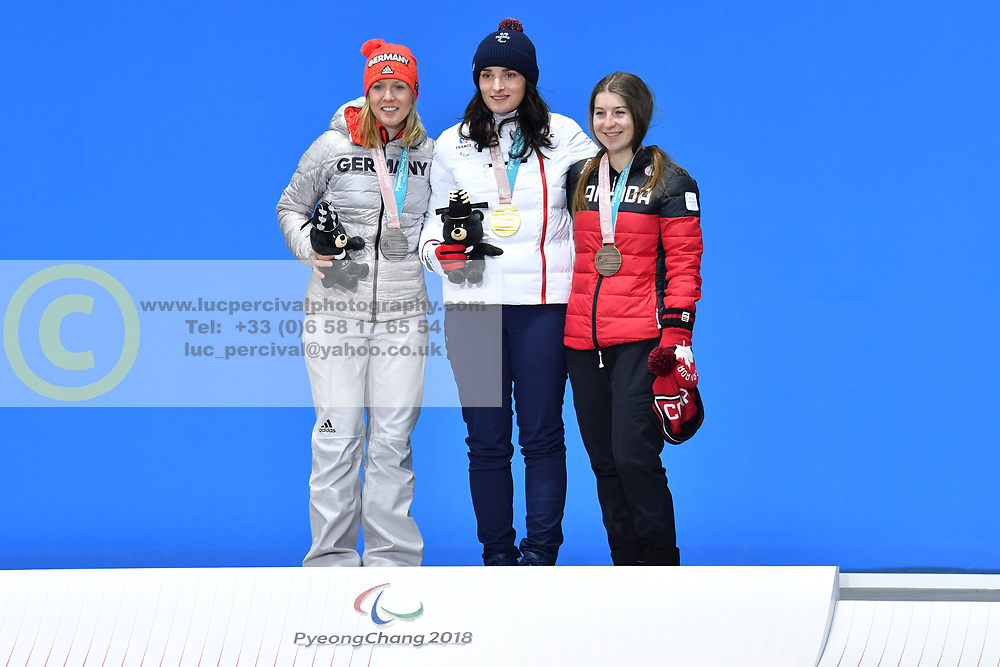 BOCHET Marie LW6/8-2 FRA, ROTHFUSS Andrea LW6/8-2 GER, JEPSEN Mollie LW6/8-2 CAN, ParaSkiAlpin, Para Alpine Skiing, Downhill, Descente, Podium at PyeongChang2018 Winter Paralympic Games, South Korea.