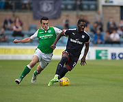 27th August 2017, Dens Park, Dundee, Dundee; Scottish Premier League football, Dundee versus Hibernian; Dundee's Roarie Deacon and Hibernian's John McGinn