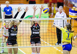 Sasa Planinsec of Nova KBM Branik and Iza Mlakar of Nova KBM Branik vs Dajana Lucas of Luka Koper during volleyball match between Nova KBM Branik Maribor and OK Luka Koper in Final of Women Slovenian Cup 2014/15, on January 18, 2015 in Sempeter v Savinjski dolini, Slovenia. Photo by Vid Ponikvar / Sportida