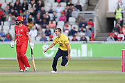 Josh Poysden of the Birmingham Bears during the Vitality T20 Blast North Group match between Lancashire Lightning and Birmingham Bears at the Emirates, Old Trafford, Manchester, United Kingdom on 10 August 2018.