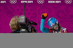 22.02.2014, Rosa Khutor Extreme Park, Krasnaya Polyana, RUS, Olympia Sochi 2014, Snowboard Parallelslalom Damen, im Bild Amelie Kober (GER) jubelt) // during the Olympic Winter Games Sochi 2014 Rosa Khutor Extreme Park in Krasnaya Polyana, Russia on 2014/02/22. EXPA Pictures © 2014, PhotoCredit: EXPA/ Freshfocus/ Urs Lindt<br /> <br /> *****ATTENTION - for AUT, SLO, CRO, SRB, BIH, MAZ only*****