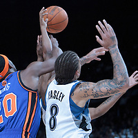 06 October 2010: New York Knicks forward Patrick Ewing Jr. #20 fights for a rebound against Minnesota Timberwolves forward Michael Beasley #8 during the Minnesota Timberwolves 106-100 victory over the New York Knicks, during 2010 NBA Europe Live, at the POPB Arena in Paris, France.