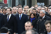 "(L-R) Spain's PM Mariano Rajoy, Britain's PM David Cameron, Paris mayor Anne Hidalgo, EU Commission President Jean-Claude Juncker - 44 CHEFS D' ETAT ET CHEFS DE GOUVERNEMENT ETRANGER ONT MARCHE A PARIS AUTOUR DU PRESIDENT FRANCOIS HOLLANDE - MARCHE REPUBLICAINE A PARIS CONTRE LE TERRORISME ET EN MEMOIRE DES VICTIMES DES ATTENTATS AU JOURNAL ""CHARLIE HEBDO"" ET AU SUPERMARCHE ""HYPER CACHER"".<br /> ©Exclusivepix Media"