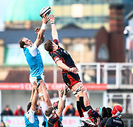 Alun Wyn Jones of Ospreys and Matthew Screech of Dragons vie for the line out ball<br /> <br /> Photographer Simon King/Replay Images<br /> <br /> Guinness PRO14 Round 12 - Dragons v Ospreys - Sunday 30th December 2018 - Rodney Parade - Newport<br /> <br /> World Copyright © Replay Images . All rights reserved. info@replayimages.co.uk - http://replayimages.co.uk