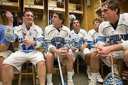 19 April 2008: North Carolina men's lacrosse attackman Gavin Petracca (14), attackman Matthias McCall (19), midfielder Matt Davie (28), defenseman Mike Chires (31) and midfielder Joe Howard (30) during halftime while playing the Hofstra Pride at Kenan Stadium in Chapel Hill, NC.