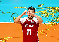 September 30, 2018 - Turin, Italy - Poland v Brazil - FIVP Men's World Championship Final.Fabian Drzyzga of Poland celebrates at Pala Alpitour in Turin, Italy on September 30, 2018. (Credit Image: © Matteo Ciambelli/NurPhoto/ZUMA Press)