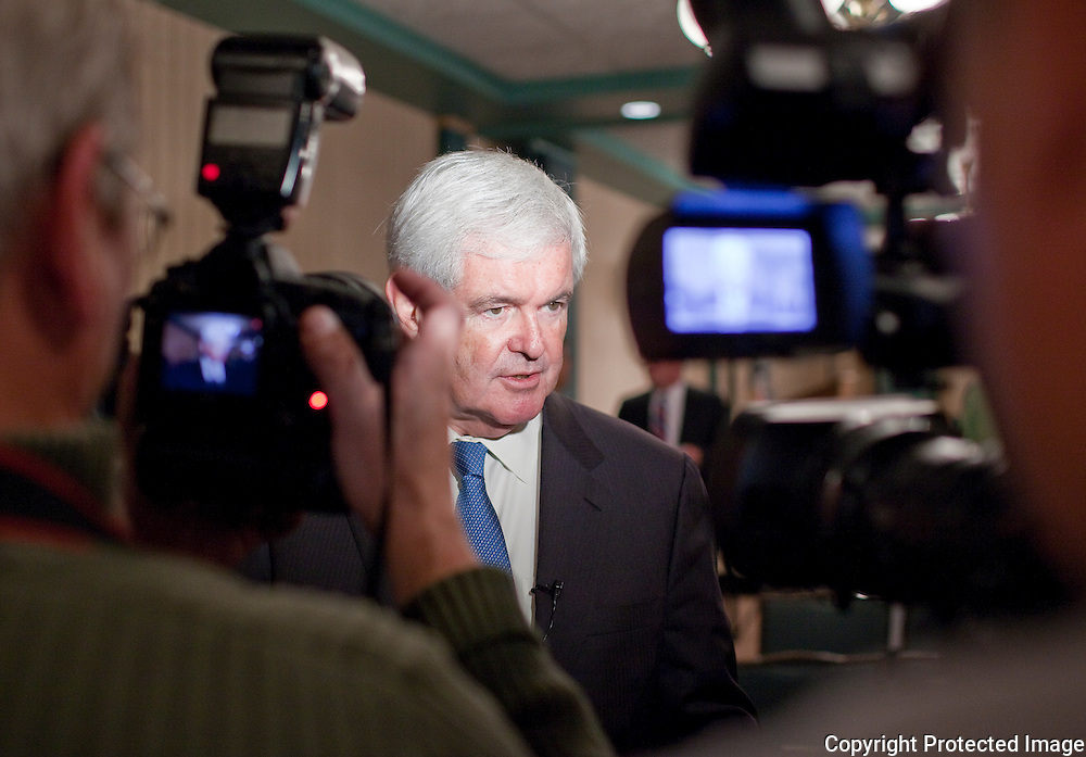 Former House Speaker Newt Gingrich talks with the press after speaking to area business leaders at the Pella Opera House in Pella, Iowa on Thursday September 9, 2010. (Stephen Mally for The New York Times)