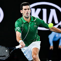 Tennis: open de Melbourne. (200120) -- MELBOURNE, Jan. 20, 2020 (Xinhua) -- Novak Djokovic of Serbia returns a shot during the men's singles first round match against Jan-Lennard Struff of Germany at the Australian Open tennis championship in Melbourne, Australia on Jan. 20, 2020. (Xinhua/Zhu Wei)<br /> <br /> <br /> <br /> 250084 2020-01-20  MELBOURNE <br /> <br /> Photo by Icon Sport - Novak DJOKOVIC