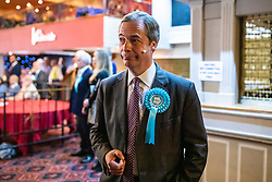 © Licensed to London News Pictures. 19/05/2019. Frimley, UK. Leader of The Brexit Party Nigel Farage waits to address supporters at a party rally in Frimley, Surrey, ahead of the European Elections. Photo credit: Rob Pinney/LNP
