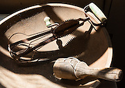 Old egg beater. Formerly a gold mining town from 1879-1910, Custer Historic Site is now a ghost town, near Stanley, Idaho, USA. The city of Custer was named after General George Armstrong Custer, who was killed in battle in 1876. Custer is now part of the Land of the Yankee Fork State Park and Challis National Forest Historic Area.