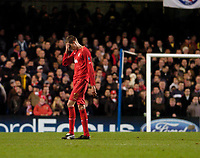 Photo: Leigh Quinnell.<br /> Chelsea v Liverpool. UEFA Champions League. <br /> 06/12/2005. Liverpools Peter Crouch not happy.