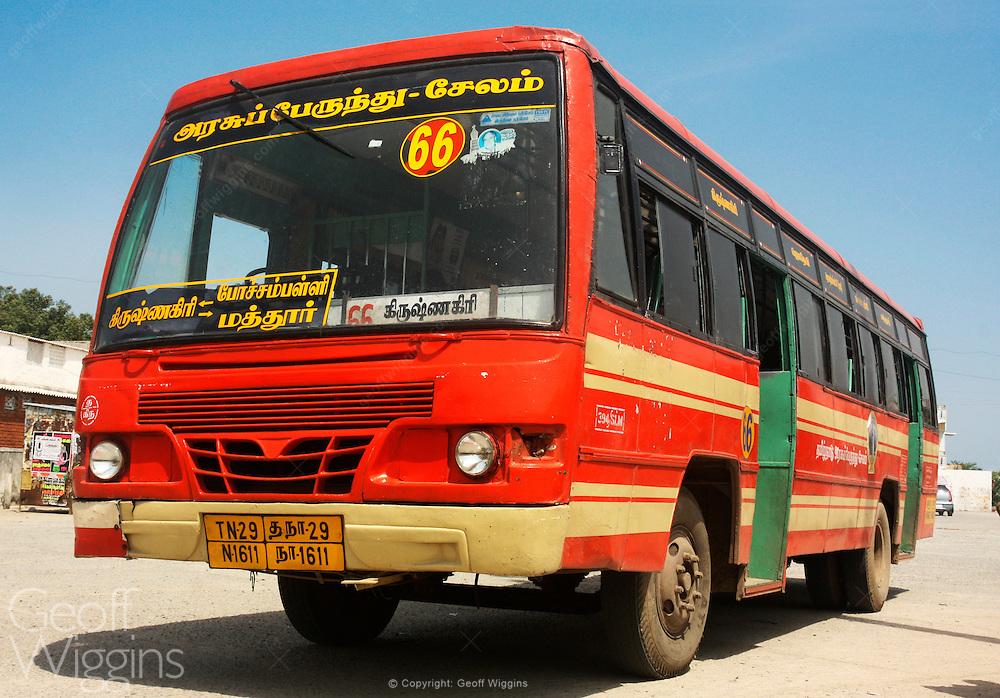 Indian Ashok Leyland Viking passenger bus from the Tamil Nadu State Transport Corporation at Krishnagiri bus station, Tamil Nadu
