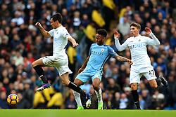 Jack Cork of Swansea City is chased by Raheem Sterling of Manchester City - Mandatory by-line: Matt McNulty/JMP - 05/02/2017 - FOOTBALL - Etihad Stadium - Manchester, England - Manchester City v Swansea City - Premier League