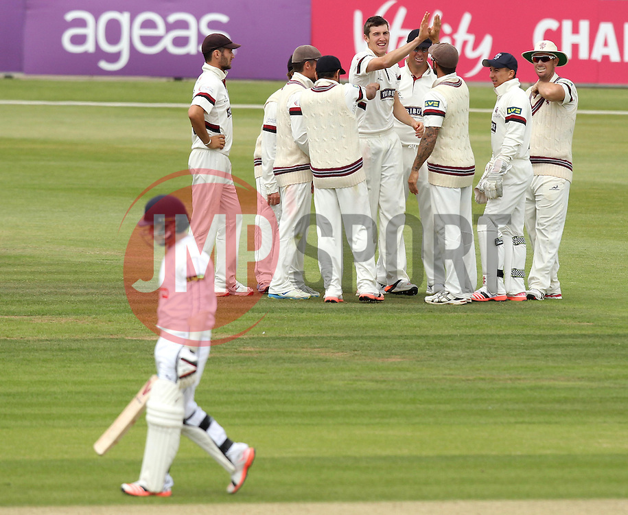 Somerset's Craig Overton celebrates taking the wicket of Hampshire's Adam Wheater with his Somerset teammates - Photo mandatory by-line: Robbie Stephenson/JMP - Mobile: 07966 386802 - 23/06/2015 - SPORT - Cricket - Southampton - The Ageas Bowl - Hampshire v Somerset - County Championship Division One