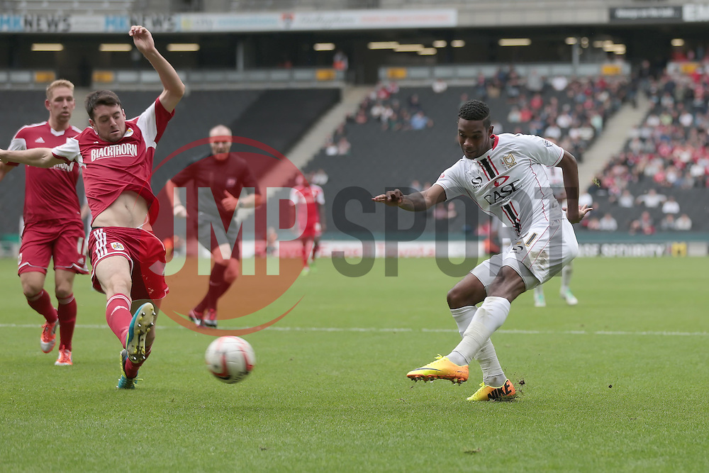 Milton Keynes Dons' Jason Banton crosses the ball  - Photo mandatory by-line: Nigel Pitts-Drake/JMP - Tel: Mobile: 07966 386802 24/08/2013 - SPORT - FOOTBALL - Stadium MK - Milton Keynes - Milton Keynes Dons V Bristol City - Sky Bet League One
