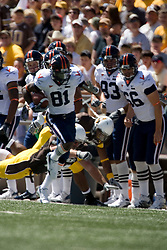 Virginia wide receiver Dontrelle Inman (81) heads up field against Wyoming.  The Wyoming Cowboys defeated the Virginia Cavaliers 23-3 at War Memorial Stadium in Laramie, WY on September 1, 2007.