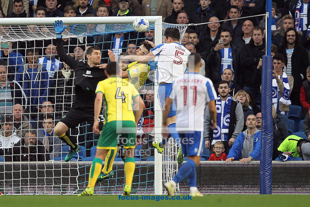 Lewis Dunk of Brighton &amp; Hove Albion scores his sides 3rd goal during the Sky Bet Championship match at the American Express Community Stadium, Brighton and Hove<br /> Picture by Paul Chesterton/Focus Images Ltd +44 7904 640267<br /> 29/10/2016