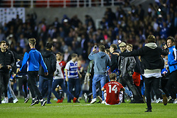 Stefan Johansen of Fulham site on the pitch as Reading fans invade, full time score, Reading 1-0 Fulham - Mandatory by-line: Jason Brown/JMP - 16/05/2017 - FOOTBALL - Madejski Stadium - Reading, England - Reading v Fulham - Sky Bet Championship Play-off Semi-Final 2nd Leg