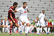 02 September 2012: NC State's Nazmi Albadawi (10) and Santa Clara's Max Ornstil (left). The North Carolina State University Wolfpack defeated the Santa Clara University Broncos 2-1 at Koskinen Stadium in Durham, North Carolina in a 2012 NCAA Division I Men's Soccer game.