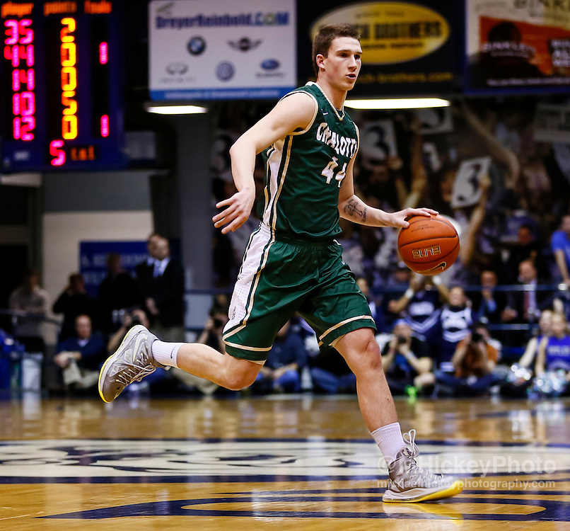 INDIANAPOLIS, IN - FEBRUARY 13: Ivan Benkovic #44 of the Charlotte 49ers dribbles the ball against the Butler Bulldogs at Hinkle Fieldhouse on February 13, 2013 in Indianapolis, Indiana. Charlotte defeated Butler 71-67. (Photo by Michael Hickey/Getty Images) *** Local Caption *** Ivan Benkovic