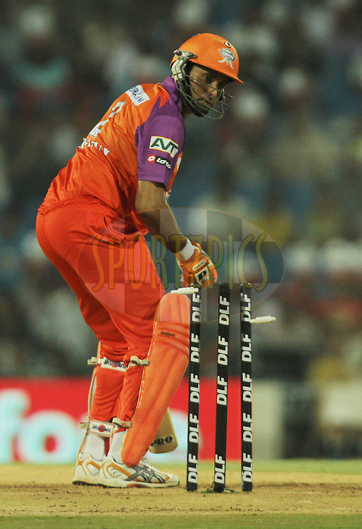 VVS Laxman of Kochi Tuskers Kerala being bowled during  match 10 of the Indian Premier League ( IPL ) Season 4 between the Pune Warriors and the Kochi Tuskers Kerala held at the Dr DY Patil Sports Academy, Mumbai India on the 13th April 2011..Photo by BCCI/SPORTZPICS