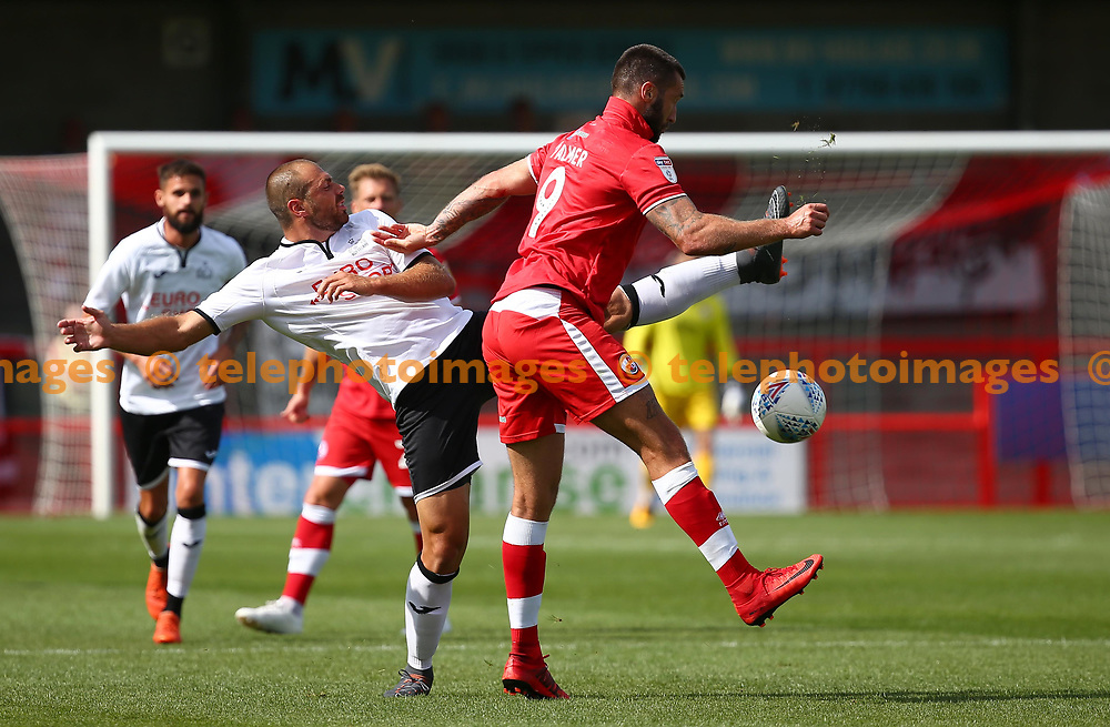 Crawley's Ollie Palmer in action during the pre season friendly between Crawley Town and KSV Roeselare at The Broadfield Stadium, Crawley , UK. 28 July 2018.