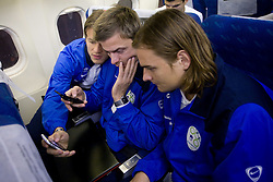 Zlatko Dedic, Aleksander Seliga and Nejc Pecnik at airplane from Moscow to Maribor and Ljubljana after the FIFA World Cup South Africa 2010 Qualifying play-off match between Russia and Slovenia,  on November 14, 2009, in Moscow, Slovenia.   (Photo by Vid Ponikvar / Sportida)