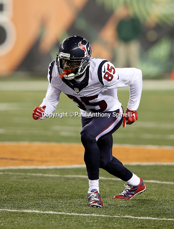 Houston Texans wide receiver Nate Washington (85) goes out for a pass during the 2015 week 10 regular season NFL football game against the Cincinnati Bengals on Monday, Nov. 16, 2015 in Cincinnati. The Texans won the game 10-6. (©Paul Anthony Spinelli)