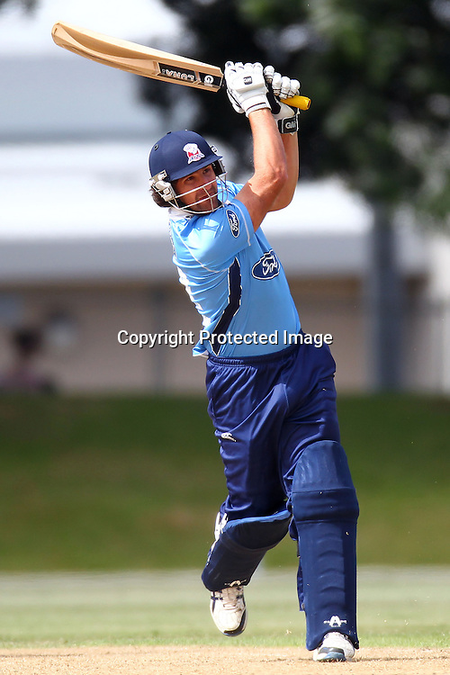 Colin de Grandhomme during the Ford Trophy match between the Auckland Aces v Wellington Firebirds. Men's domestic 1 day cricket. Colin Maiden Park, New Zealand. Sunday 29 January 2012. Ella Brockelsby / photosport.co.nz