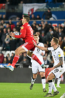 Football - 2019 / 2020 Sky Bet (EFL) Championship - Swansea City vs. Fulham<br /> <br /> Aleksandar Mitrovic of Fulham leaps to take the ball , at The Liberty Stadium.<br /> <br /> COLORSPORT/WINSTON BYNORTH
