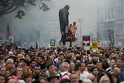 © Licensed to London News Pictures . 20/06/2015 . London , UK . Parliament Square . Tens of thousands of people march from the Bank of England to Parliament , to protest economic austerity in Britain . Photo credit: Joel Goodman/LNP
