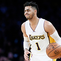 26 March 2016: Los Angeles Lakers guard D'Angelo Russell (1) brings the ball up court during the Portland Trail Blazers 97-81 victory over the Los Angeles Lakers, at the Staples Center, Los Angeles, California, USA.