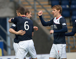 Falkirk's Stephen Kingsley celebrates with team mates after crossing the ball for Craig Sibbald scoring their first goal.<br /> Falkirk 3 v 1 Raith Rovers, Scottish Championship game at The Falkirk Stadium.