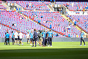 Leicester City players check the stadium pitch during the FA Community Shield match between Leicester City and Manchester United at Wembley Stadium, London, England on 7 August 2016. Photo by Phil Duncan.