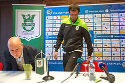 Marko Nikolic, head coach of NK Olimpija Ljubljana and Danko Lazovic, new football player, during press conference and practice session of NK Olimpija Ljubljana, on February 25, 2016 in Austria Trend Hotel, Ljubljana, Slovenia. Photo by Matic Klansek Velej / Sportida