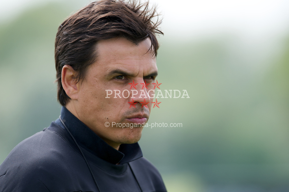 LONDON, ENGLAND - Monday, May 21, 2012: Wales' manager Chris Coleman during training at Chelsea's Cobham Training Centre ahead of the trip to the USA to face Mexico in a friendly match. (Pic by David Rawcliffe/Propaganda)