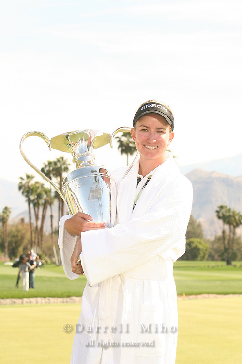 Apr. 2, 2006; Rancho Mirage, CA, USA; Karrie Webb poses with her trophy after winning the Kraft Nabisco Championship at Mission Hills Country Club. ...Mandatory Photo Credit: Darrell Miho.Copyright © 2006 Darrell Miho .